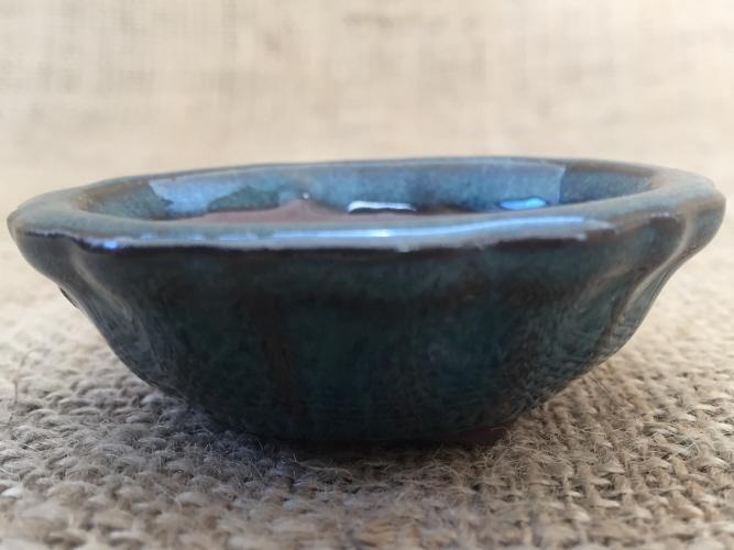 Mame Size Blue Glazed Round Bonsai Pot 6.5x4.5cm